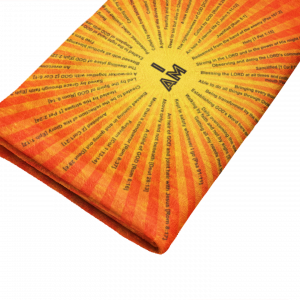 I AM Scriptures Orange Minky Blanket Folded