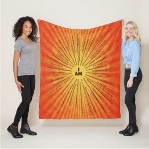 I AM Scriptures Orange Minky Blanket Hanging