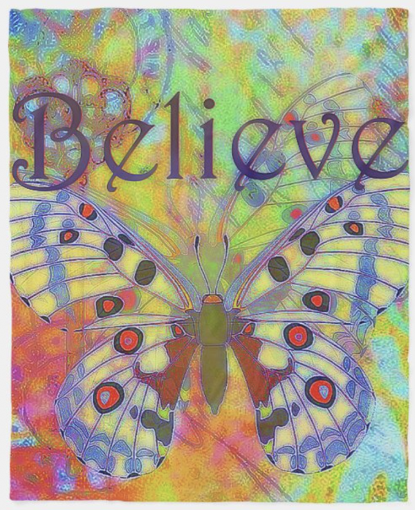 Colourful Blanket with Butterfly and word Believe