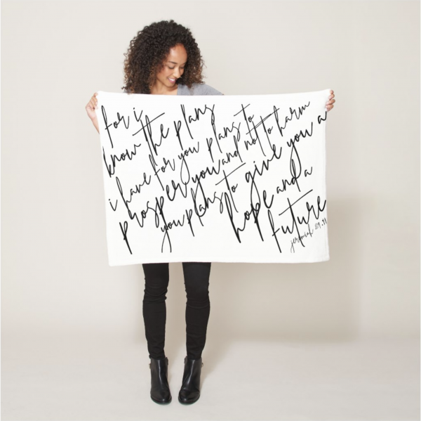 Blanket with Bible verse For I know the plans I have for you